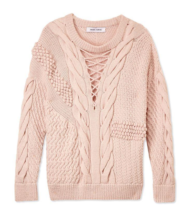 Prabal Gurung Textured Cable Knit Sweater