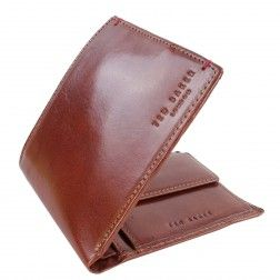 Ted Baker OUTCOPY Printed Bifold Coin Holder Wallet - Tan