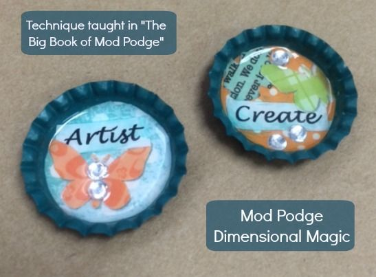 how to make bottle cap magnets with mod podge