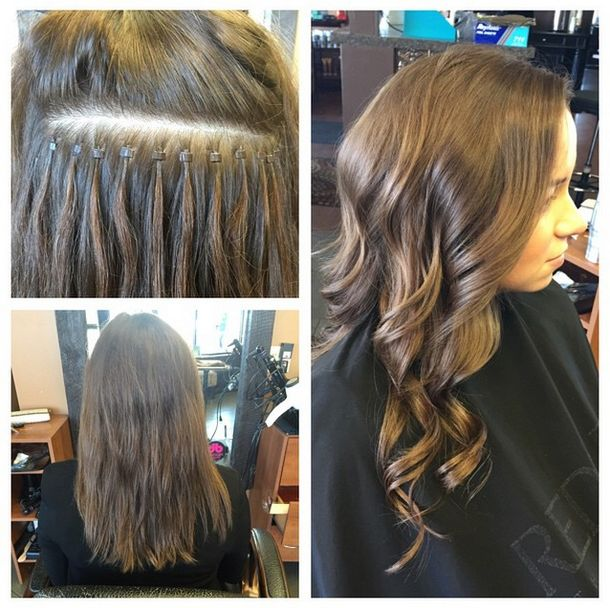 Perfect installation of Donna Bella Hair I-Link extensions by Linda B. at Fringe Hair Salon and Spa.