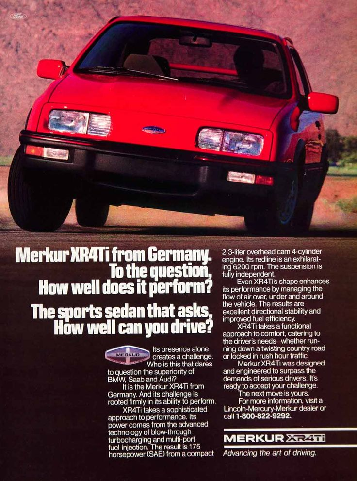 1986 Ad Merkur XR4Ti 3 Door Hatchback Compact Car German Import Collector YSP3