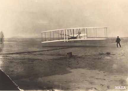 On Dec. 17, 1903, The Wright Brothers' Flyer was the first powered airplane to execute controlled and sustained flight.