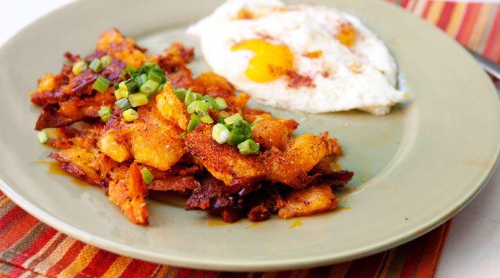 Perfectly crispy breakfast potatoes smashed and baked on Macheesmo.com.