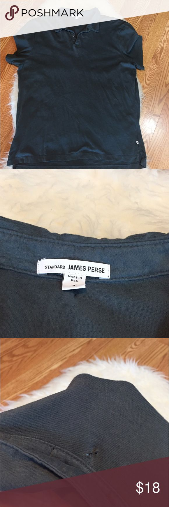 """Standard James Perse Collared Tee Soft, lightweight shirt made of 100% Suprima Cotton. Small holes under collar on back of shirt (as seen in picture). Otherwise in good condition. Measures 24"""" chest (laying flat) and 30"""" length. Size 4 (XL) -slim fit shirt). James Perse Shirts"""