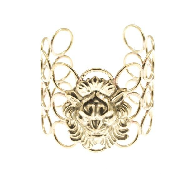 Handmade bronze metal plated bracelet with curved lion, by Art Wear Dimitriadis