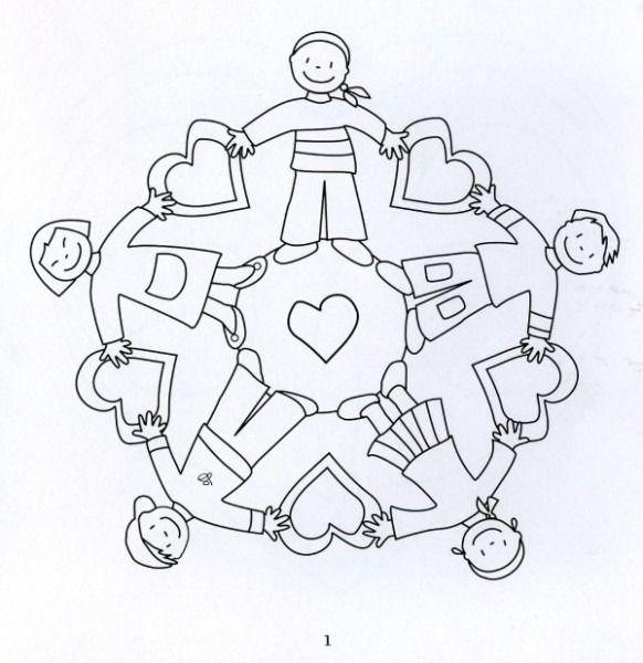 Ni Os En Circulo Para Colorear Boyama Sayfalari Mandala Desenler