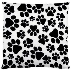 Puppy-Dog-Paw-Prints-Throw-Pillow-Cushion-Cover-Reversible-Black-And-White