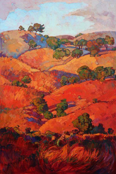 California impressionist oil painting of Paso Robles wine country, by Erin Hanson