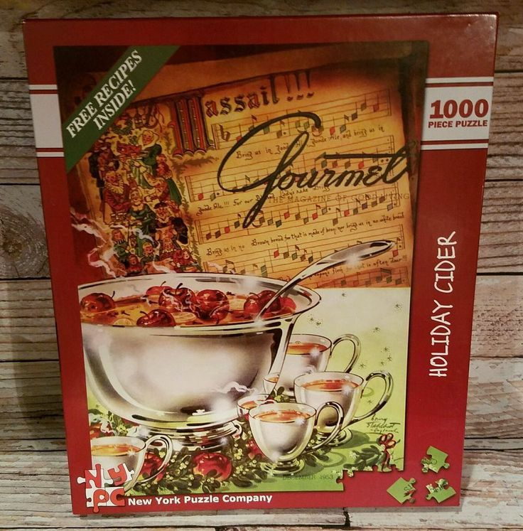 "New York Puzzle Company GOURMET Holiday Cider 1000 piece Recipes 20"" X 27"" XMAS 