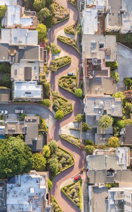 """National Geographic cities competition Lombard Street - San Francisco  Lombard Street is known to be the most crooked street in the world. But Vermont Street, the other San Francisco street claimed to be the """"most crooked"""" has seven turns instead of eight, but its hill is steeper than Lombard's"""