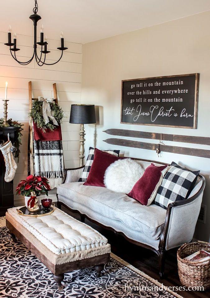 Black White And Burgundy Christmas Decor Christmas Decorations Living Room Christmas Living Rooms Burgundy Living Room