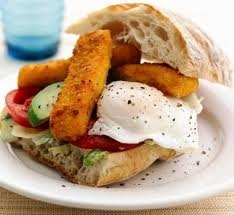 Fish finger sandwich with ketchup