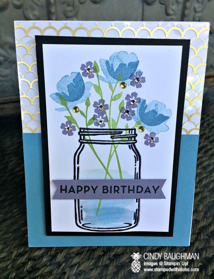 Stampin' Up! Jar of Love Birthday Card - www.stampedwithaloha.com