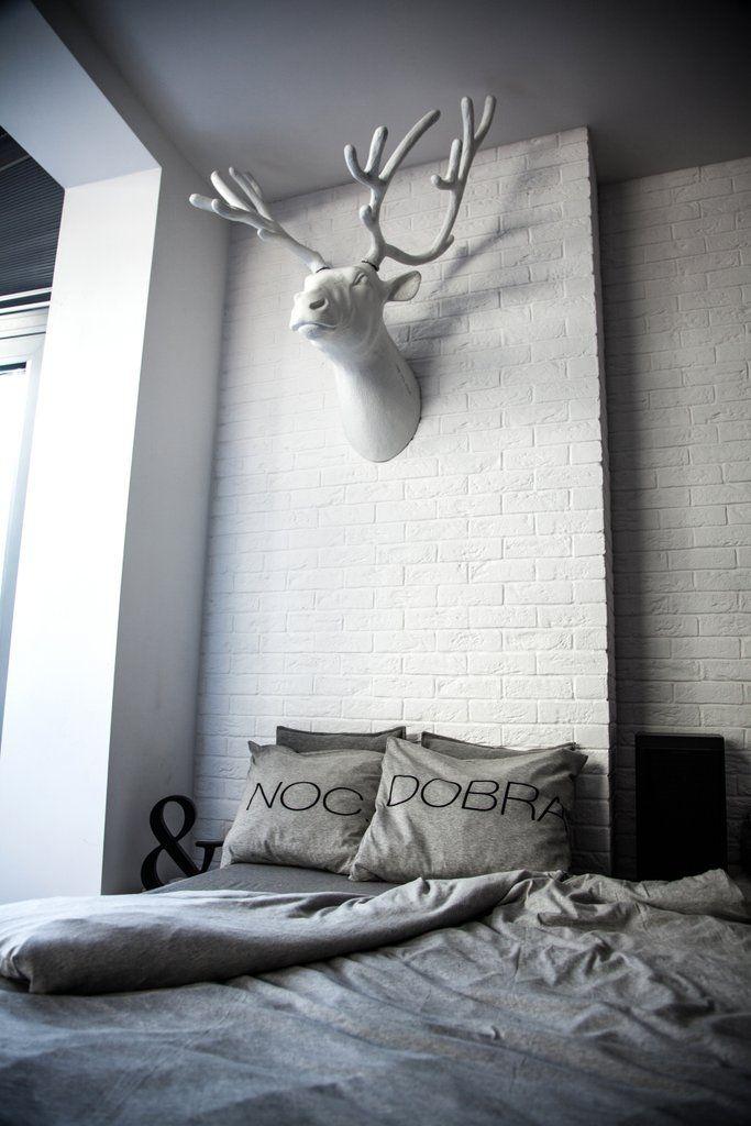 Szara dzianinowa pościel DOBRANOC. Sypialnia - inspiracja.