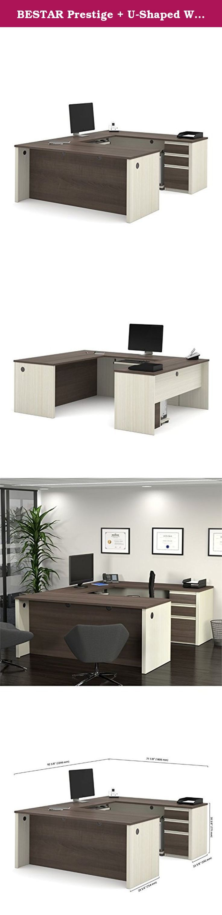 BESTAR Prestige + U-Shaped Workstation Including 1 Pedestal. If you need a large, durable work surface, look no further than the BESTAR Prestige + U-Shaped Workstation Including 1 Pedestal. The U-shaped design features a commercial-grade melamine finish that resists scratches, stains, and wear, and also includes an impact-resistant PVC edge. Below, the pedestal features two utility drawers and one legal/letter file drawer. All drawers and the pull-out keyboard tray feature smooth...