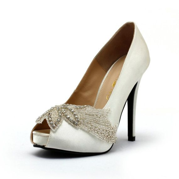 White Satin Wedding Heels with Rhinestones Ivory by ChristyNgShoes, $130.00