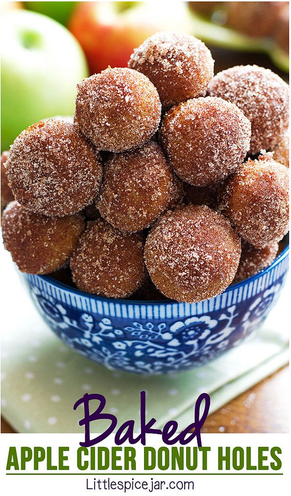 Baked apple cider donut holes are absolutely fall perfect! Dipped in cinnamon sugar and perfect with a cup of coffee! | littlespicejar.com @littlespicejar #donutholes #applecider #falltreats: Baked apple cider donut holes are absolutely fall perfect! Dipped in cinnamon sugar and perfect with a cup of coffee! | littlespicejar.com @littlespicejar #donutholes #applecider #falltreats