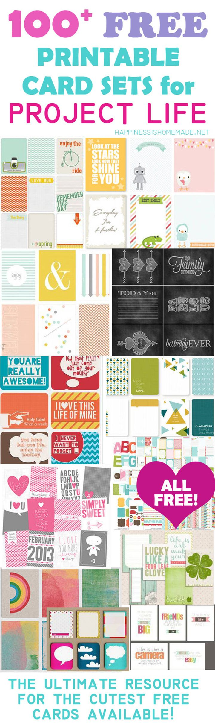 Over 100 of the best and cutest FREE printable Project Life 3x4 journal card sets all conveniently linked in one handy resource!