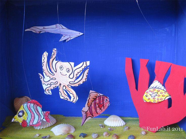 """Rimaniamo in tema riciclo (ma anche in tema mare e pesci… sarà l'inverno freddo che ci fa sognare e riprodurre in tutti i modi paesaggi e ambienti """"estivi""""?…). Recuperiamo una scatola di scarpe e la trasformiamo in un acquario. Coloriamo la scatola con il blu del mare. E poi via con l'ambientazione. I pesci si ..."""