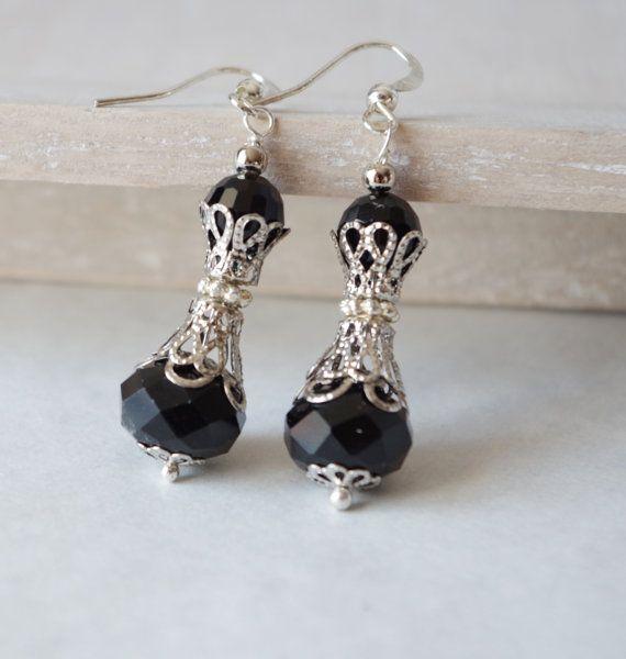 Zwarte parel oorbellen bruidsmeisje Gift oorbellen bruidsmeisje sieraden bruidsmeisje Dangle Earrings Swarovski Parel bruiloft sieraden kristal oorbellen