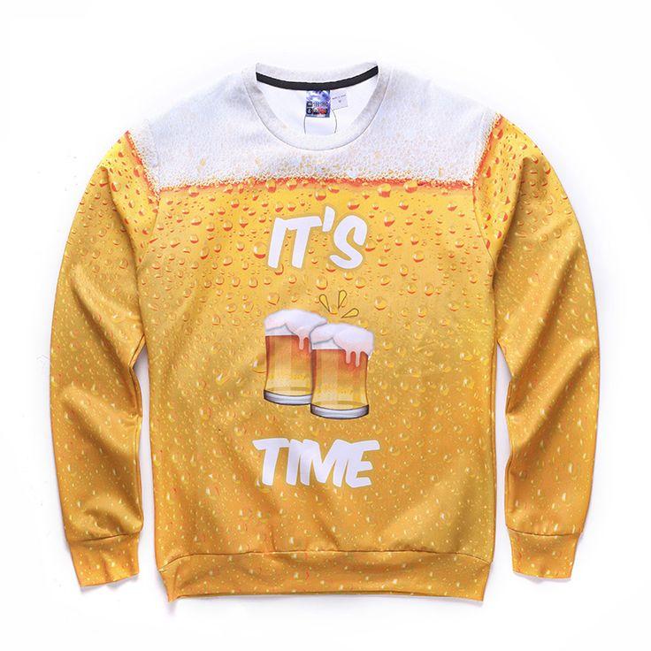 Digital Print Letters Men's Hoodies Men Spring Long Sleeve Painted Beer Toast Yellow Pullover 2017 Hip Hop Streetwear Thin Hoody