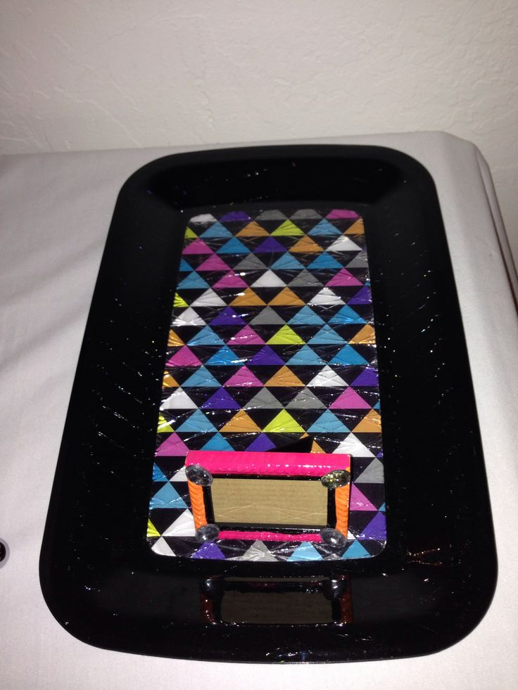 Copied print& glued to clear tray for dessert to match party decor