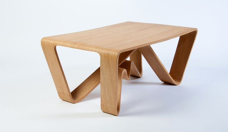 Woodwaves, small lounge table in bent veneer. Design: FimbulDesign.