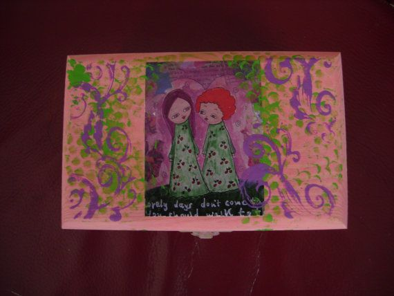 Lovely Days Mixed media wooden art box/keepsake by eltsamp on Etsy, $28.00