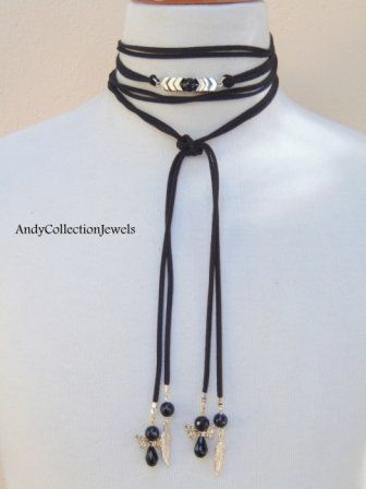 Women's Black Suede Wrap Choker with Black Agate and Gold Hematite Arrow stones