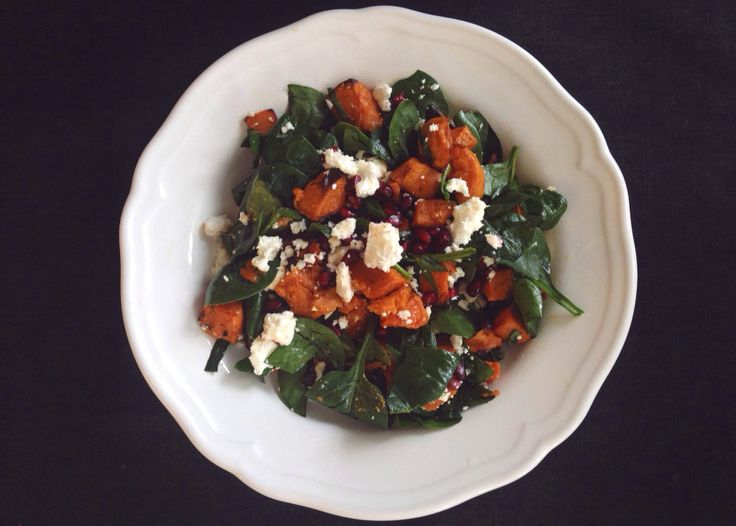 salad w/ tomatoes, sweet potatoes, spinach, pomegranate, feta