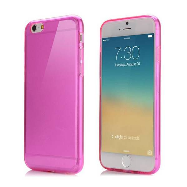 Donkerroze / transparant TPU hoesje voor iPhone 6 Plus