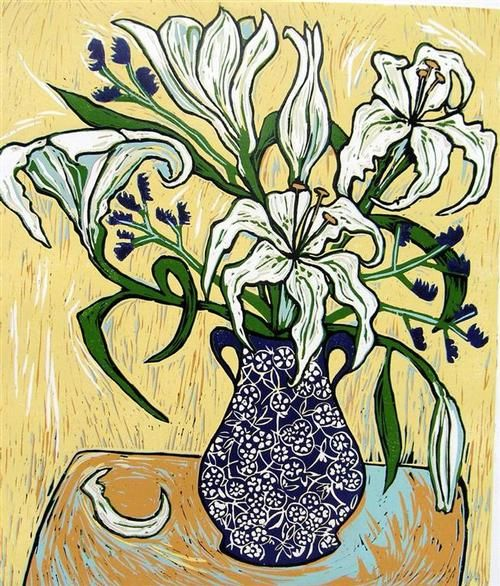 Gerry Knight - Love That Vase_ Love Those Flowers (Yellow) - linocut