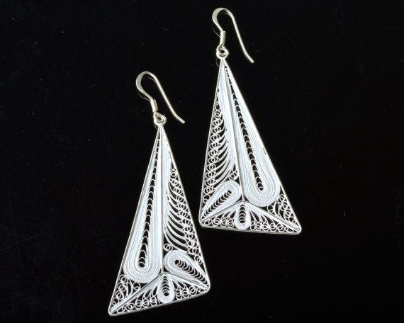 925 Sterling Silver Filigree Layar Panjang Earring by DewiJewelry