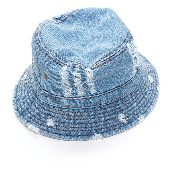 Vacationer Denim Bucket Hat ❤ liked on Polyvore