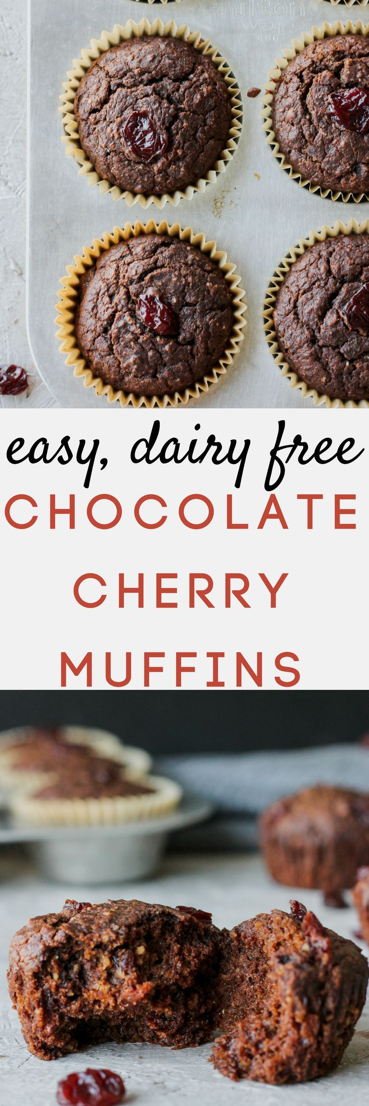 Easy dairy-free chocolate cherry muffins made with whole wheat flour, finely ground oatmeal, and naturally sweetened with honey. Making this recipe a healthy breakfast or midday snack to meal prep for a busy week!