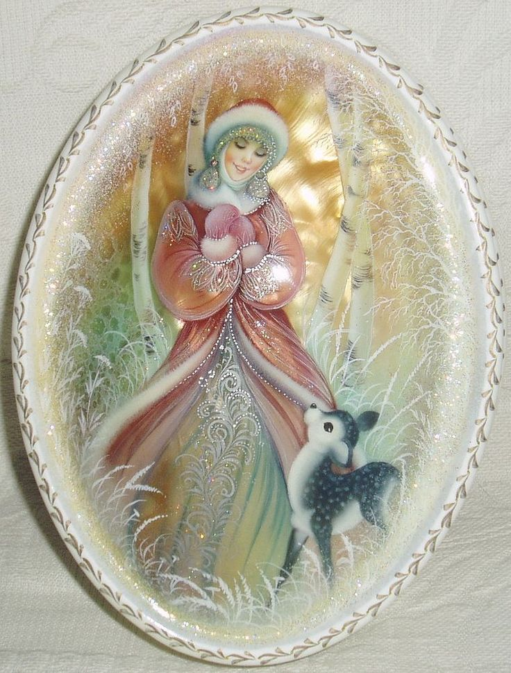 "Russian Lacquer box Shell Fedoskino "" Snow Beauty with fawn "" Hand Painted"
