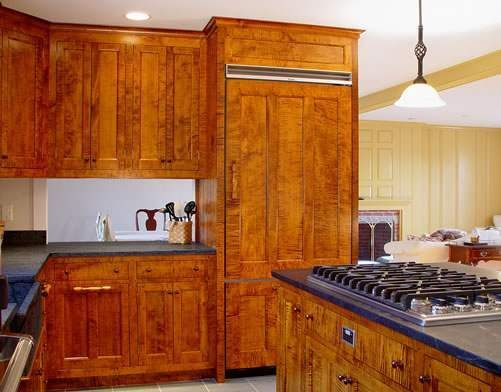 tiger maple lumber in a beautiful kitchen by drdimeskitchens.com