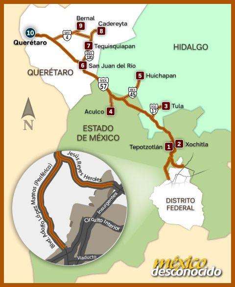 Mapa 10 destinos para disfrutar cerca del DF (con rumbo a Querétaro) / MD