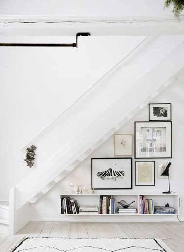 Faire galerie photo et rangements dessous l'escalier