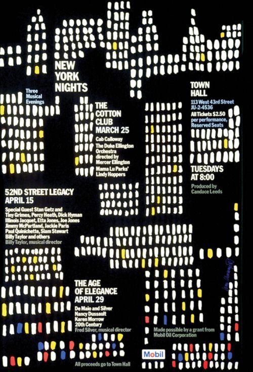 Ivan Chermayeff, Mobil New York Nights poster, 1975. Via...
