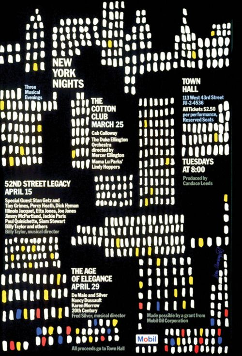 Ivan Chermayeff, Mobil New York Nights poster, 1975. Via...