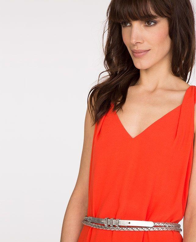 V-neck dress TIGGY - Colour PAPAYA