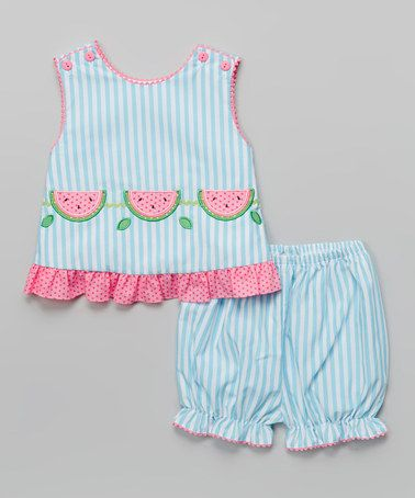 Look what I found on #zulily! Turquoise Stripe Watermelon Top & Bloomers - Infant #zulilyfinds