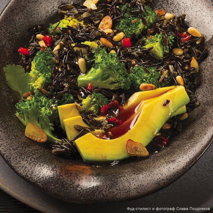 Теплый салат из дикого риса с брокколи, авокадо и кедровыми орехами - Пошаговые рецепты, фото, видео на сайте Bonduelle.ru