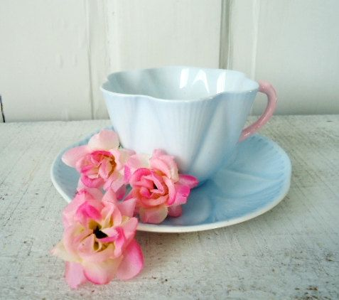 1930s Vintage Baby Blue Shelley Teacup and by TheBountifulBird