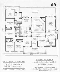 4 bedroom one level with bonus rooms add garage at back. 2972-1012 Monte Smith Designs House Plans
