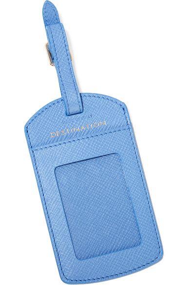 Smythson - Panama Textured-leather Luggage Tag - Sky blue - one size