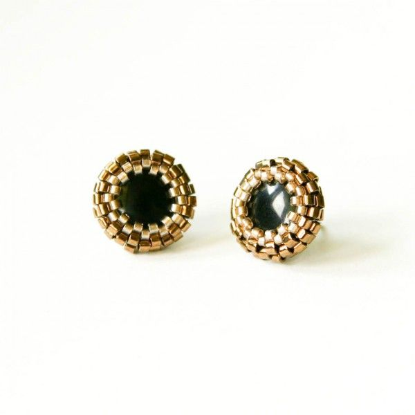 Black and gold beaded stud earrings