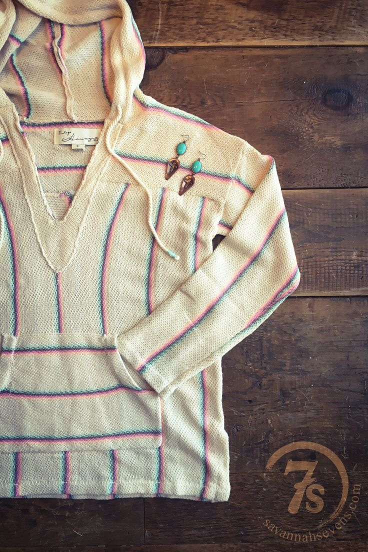 The Cabana - soft knit stripe hoodie from Savannah Sevens Western Chic