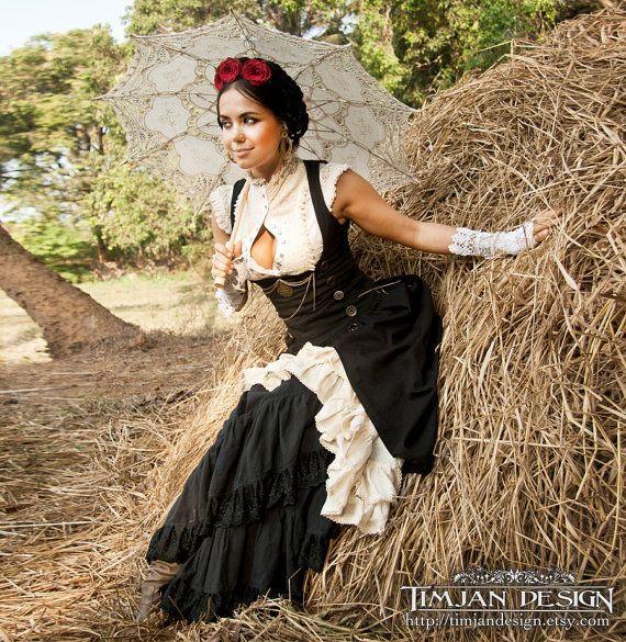 PIRATE WENCH DRESS - Steampunk Steam punk Hippie Boho Halloween Costume Corset Organic Cabaret Burlesque Dance Burning man - Black Off white  SIZES: